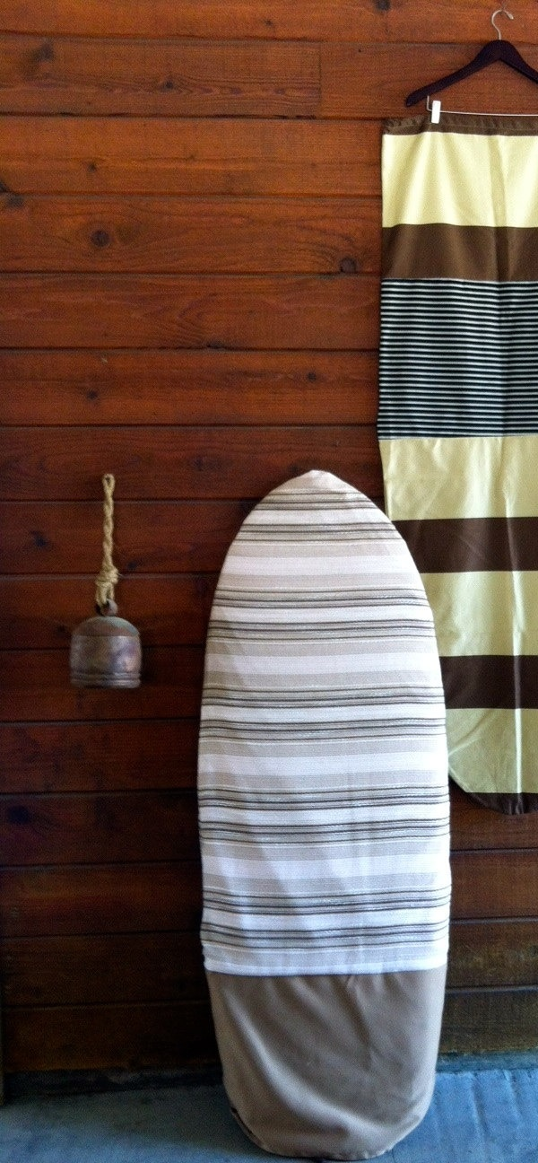 surfboard covers, surfboard bags... indian style striped fabric with beige bottom. $75.00, via Etsy.