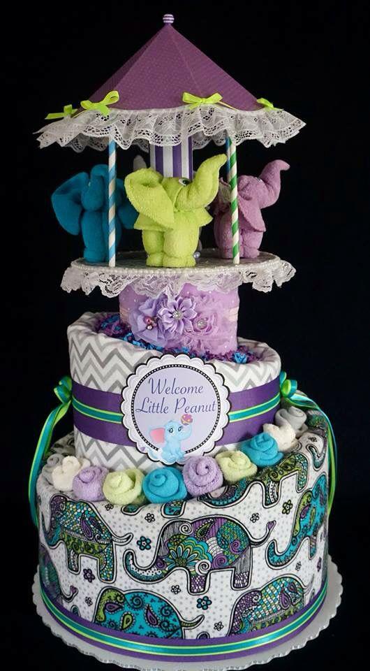 Elephant Carousel Diaper Cake www.facebook.com/DiaperCakesbyDiana