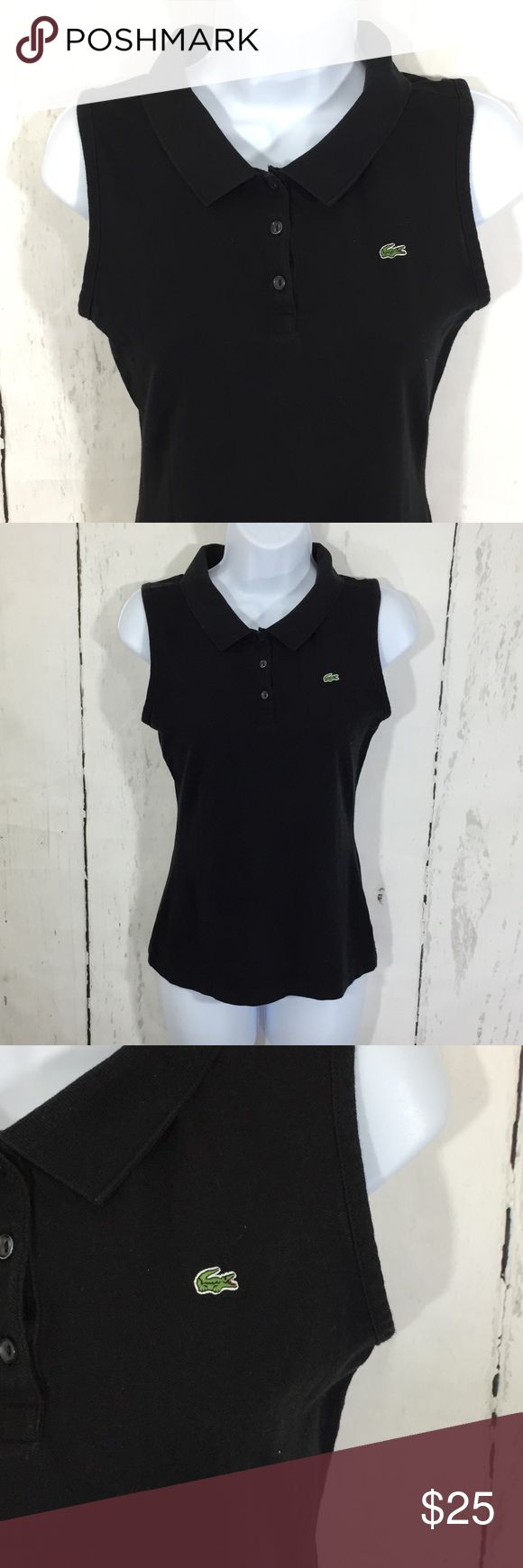 Lacoste Sleeveless Polo Shirt • Lacoste Polo Shirt Black Sleeveless  • Lacoste size 36 = US size 4 • Size 36 US size 4 - bust 33, length 23.5 • 96% Cotton 4% Elastene  • Nonsmoking home Lacoste Tops