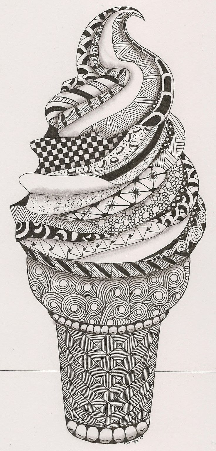 L'œuvre représente un cornet de crème glacée noir et blanc, avec plusieurs motifs différents. On peut voir des ronds, des lignes, des carrés, des spirales, des triangles, etc. L'artiste a probablement utilisé la technique du dessin et à peut-être fait son œuvre avec un crayon sharpie permanent. Lorsque je regarde cette œuvre, je me sens joyeuse, car elle me donne le goût de manger de la crème glacée. Finalement, j'aime cette œuvre, car je la trouve très originale et créative!