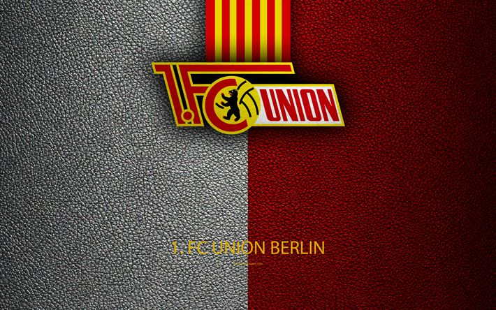 Download wallpapers Union Berlin FC, logo, 4k, leather texture, German football club, Berlin, Germany, Bundesliga 2, second division, football