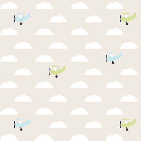 Blue Green Airplanes fabric by mrshervi on Spoonflower - custom fabric