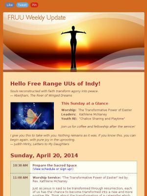 "April 20, 2014 - ""The Transformative Power of Easter"" led by Rev. Kathlene McNaney"