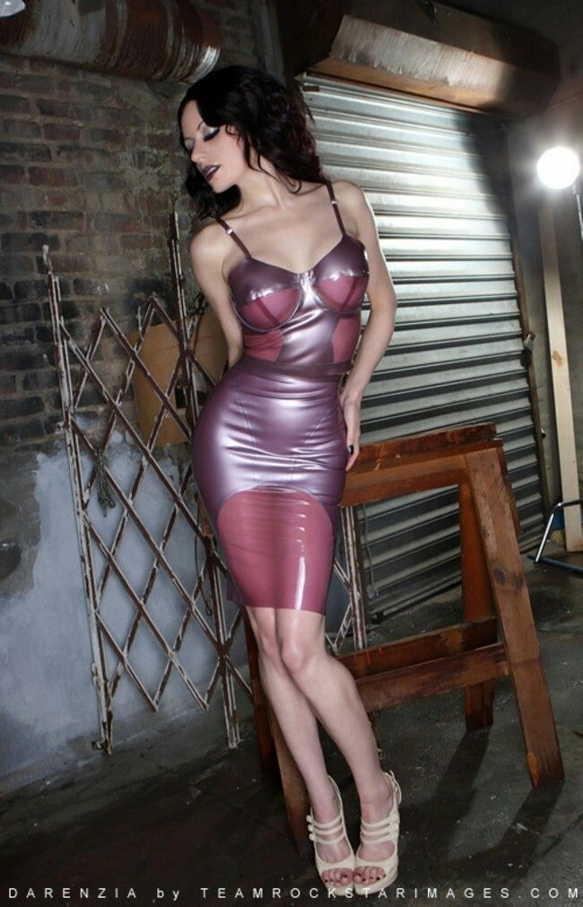 Pink transparent latex dress