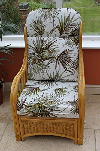 Sorrento Cane Conservatory Furniture -Single Chair - 'Palm' Design Fabric-Natural Colour Cane---149.99---