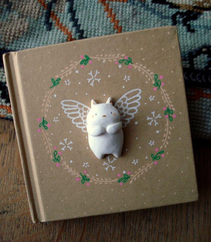 "Carnet ""Mon Ange"" oMamaWolf illustration et porcelaine froide, Mini-livre d'Or"