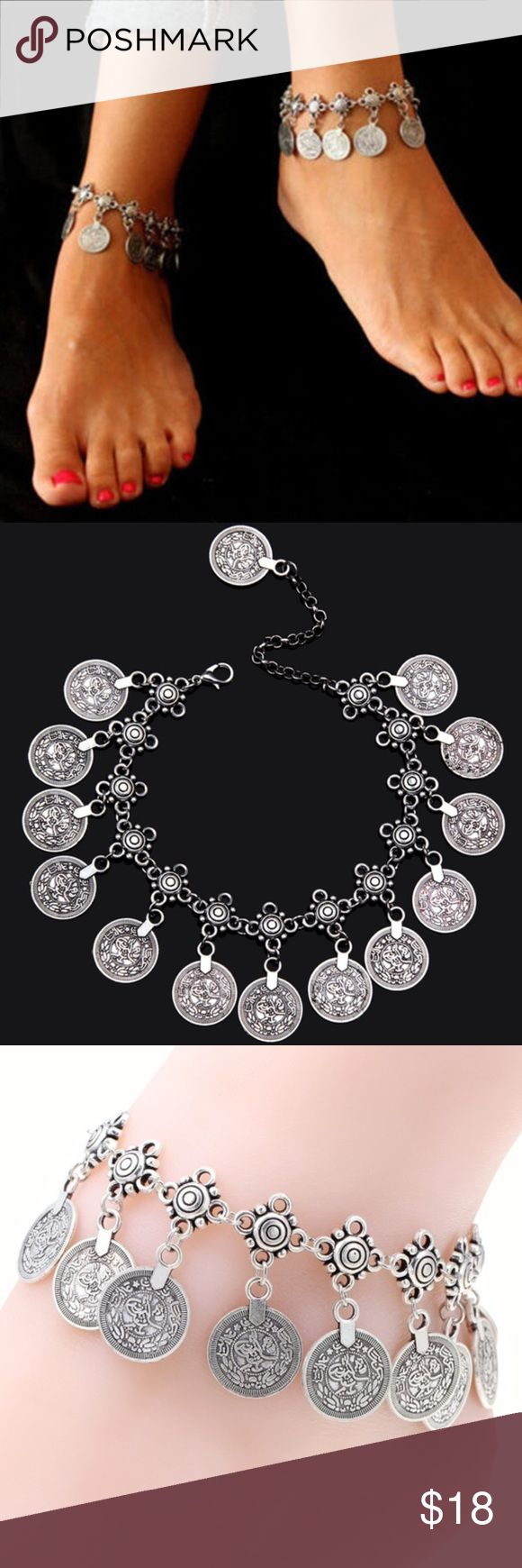 Bohemian Boho Turkish Coin Anklet *One Piece* New New in package. Perfect for summer and the beach! Antique silver, Turkish coin anklet. Can also be worn as a bracelet. *one piece*. Smoke free home. 🌺Thank you for shopping my closet 🌺 Jewelry