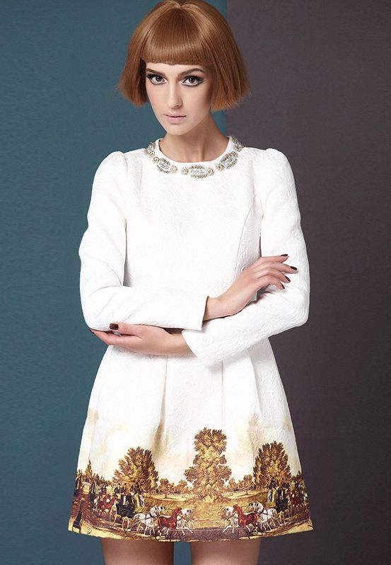 White Long Sleeve Metal Beading Neckline Retro Print Dress US$31.95