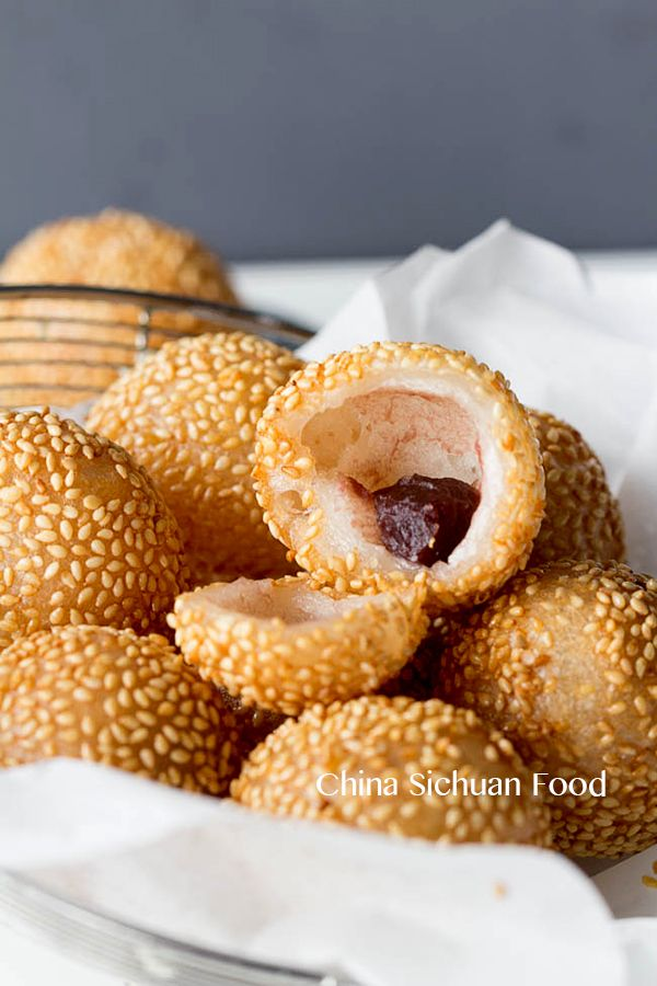 Chinese sesame balls with red bean paste--use vegetable cooking oil for frying and vegan friendly sugar to make this vegan.