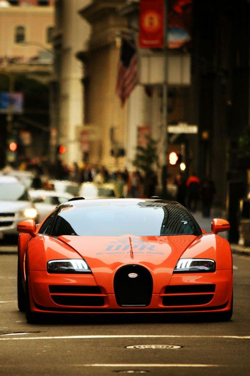 Luxury #car #vehicle #wheels Orange Red Bugatti Veyron