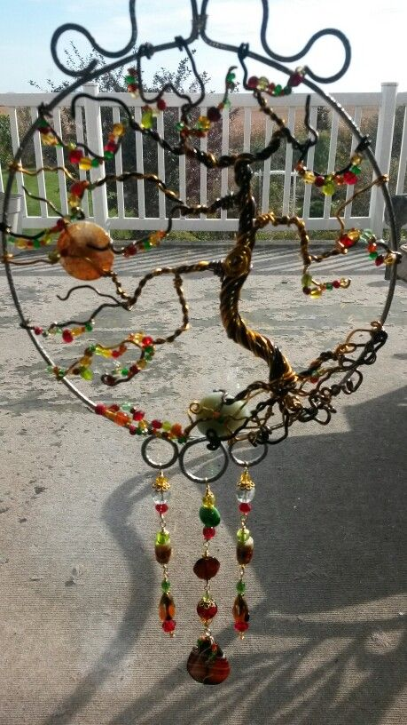 Wire Wrapped Beaded Sun Catcher With Tree Of Life Wind