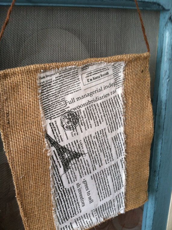 Burlap wall art pairs theme news paper print set of two on Etsy, $15.50