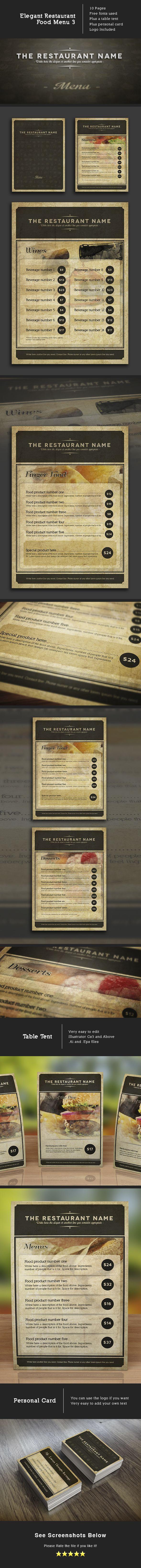 Elegant food menu 3 template for your