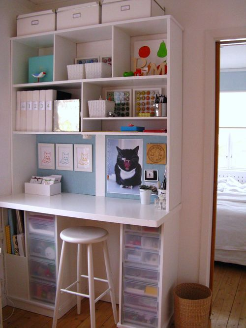 Super organized desk - want this in my kitchen  Just needs a chair with a back on it ....