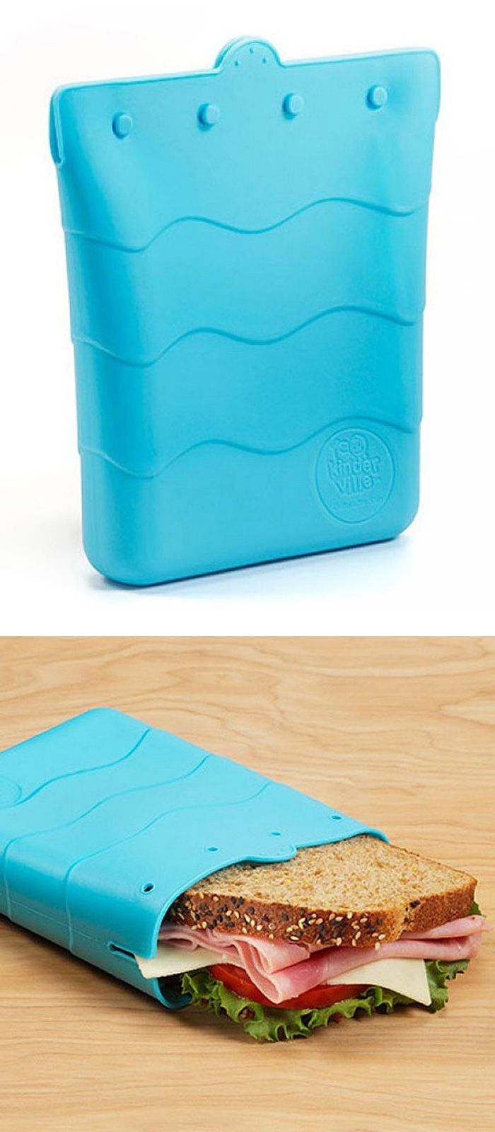 Silicone sandwich bag - great reusable alternative to expensive ziploc bags, doubles as a snack pouch! #product_design