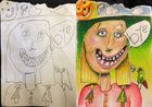 Krásné rodinné umění: Otec dokončuje obrázky, které namalovaly jeho děti