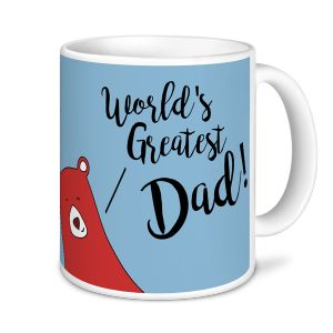 Father's Day Mug - World's Greatest Dad (brown/blue) - Novelty Mug / Express Mugs - Novelty Printed Mugs