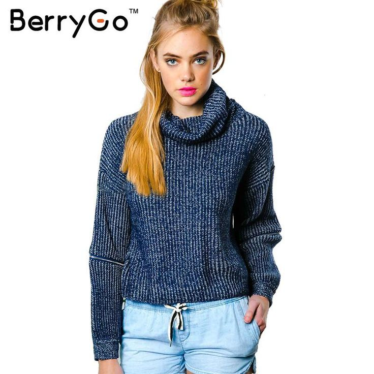 BerryGo Turtleneck zipper sleeve tricot sweaters women oversized Knitted autumn winter fashion pullover jumpers warm