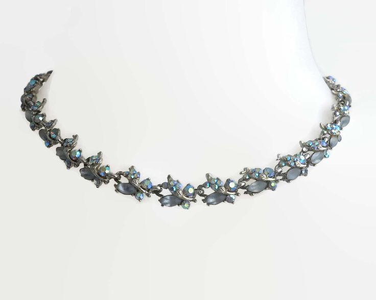 Vintage necklace with rainbow colored Aurora Borealis rhinestones and moonstone glass, very decorative, silver tone metal, circa 1950s by CardCurios on Etsy