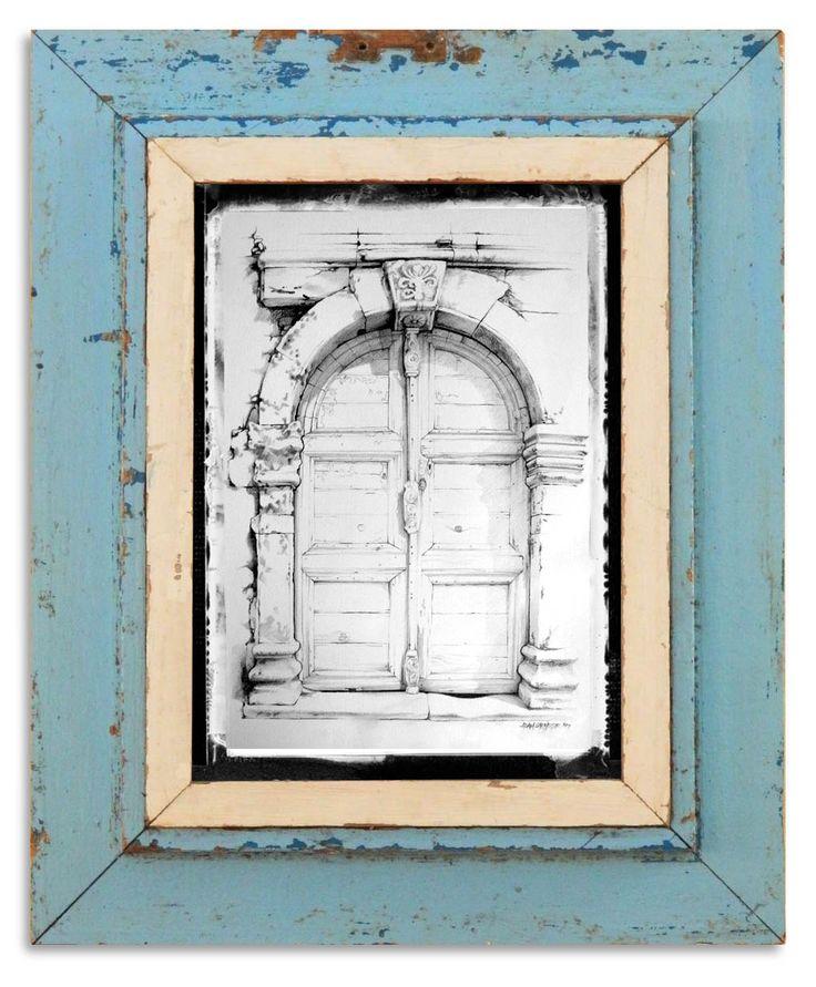 Old retro framed pencil drawing of a cretan venetian-era doorway. <carnegie@mweb.co.za>