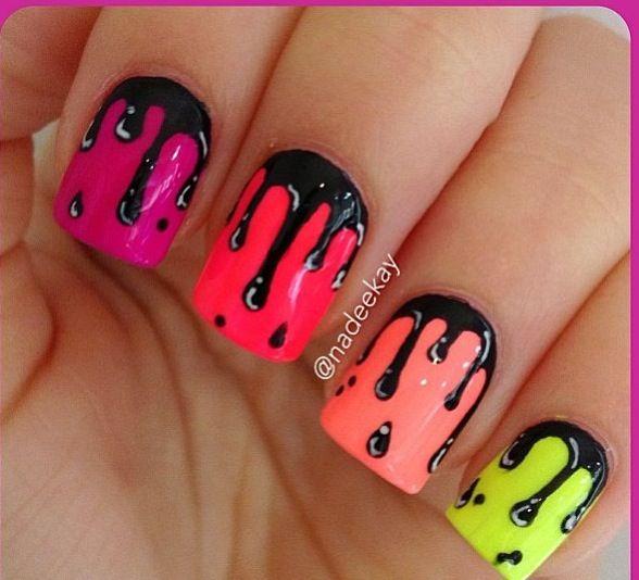 Neon Paint Drip Nail Art Nails Nails Nails Pinterest