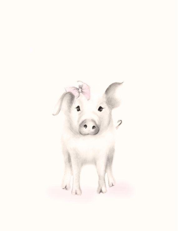 Cochon à la pépinière Art Nursery Wall Art par studioQgallery
