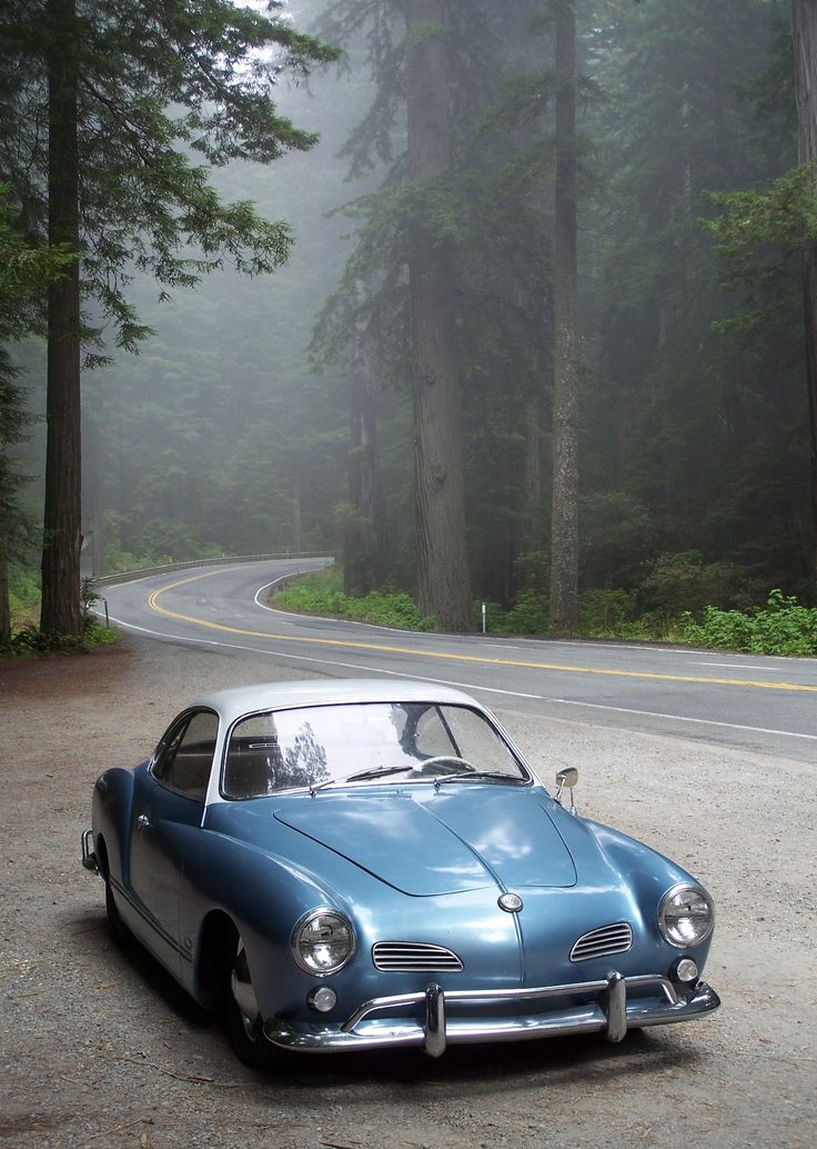 Blue and white Karmann Ghia