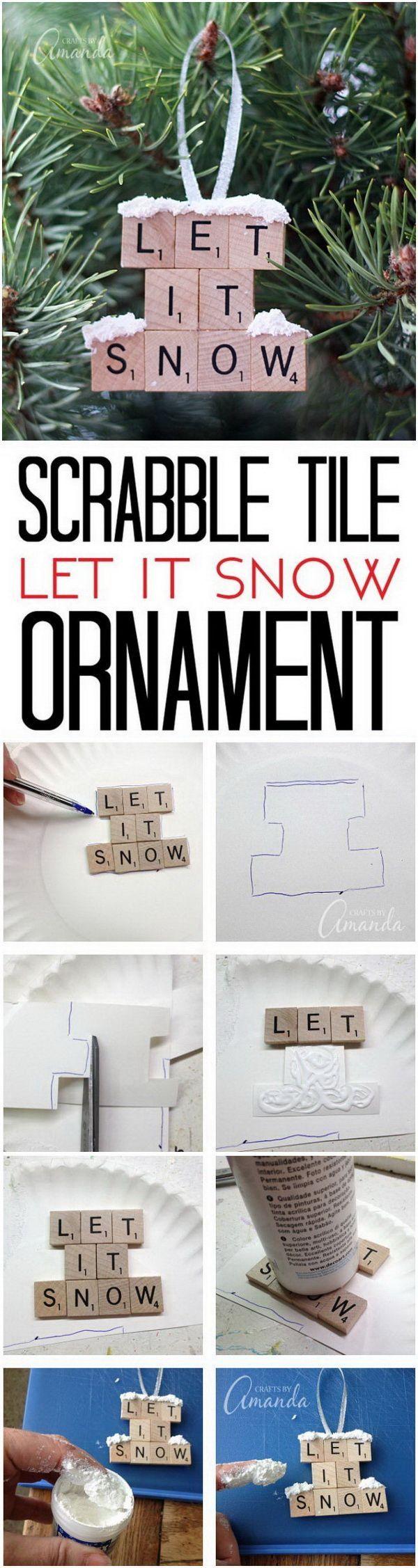 Let It Snow: Scrabble Tile Ornaments.