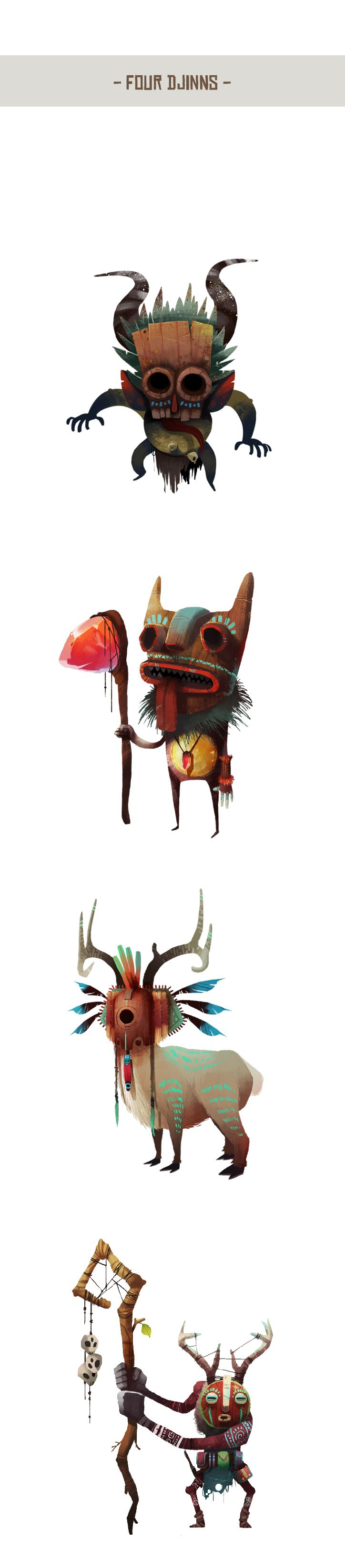 https://www.behance.net/gallery/16812879/-Four-Djinns- tribal characters masks organic nature illustration