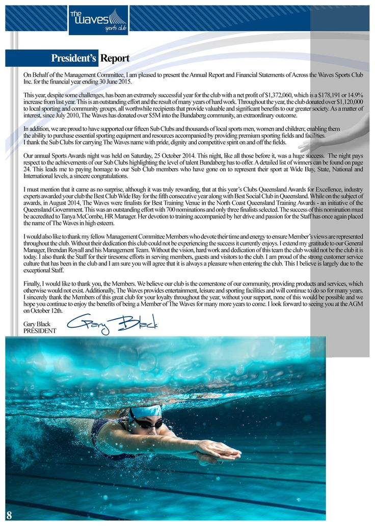 Annual Report Page 8 (President's Report). Would you like a design like this for your business? Email: art3sian@gmail.com