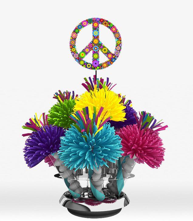hippie theme party | 60's Hippie Flower Power Peace Symbol Centerpiece