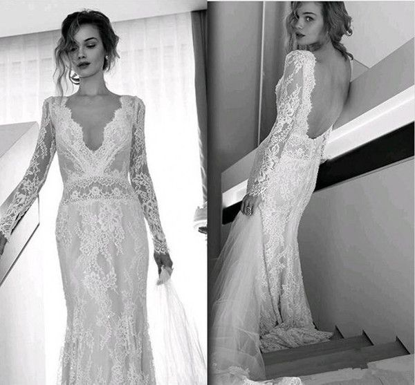 85a6f483db9 Cheap Lihi Hod Bohemian Wedding Dresses Full Lace Long Sleeves Sexy V Neck  Sweep Train Bridal Gowns Custom Made Backless Wedding Dress As Low As   128.15