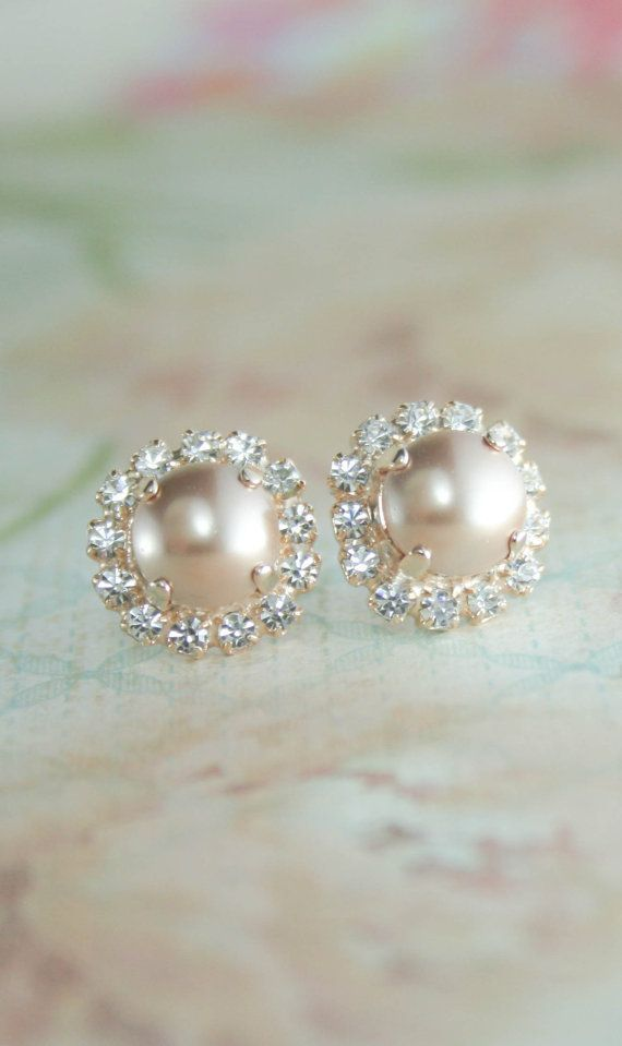 Rose gold pearl earrings | rose gold bridesmaid earrings | blush and nude wedding | rose gold wedding | www.endorajewellery.etsy.com