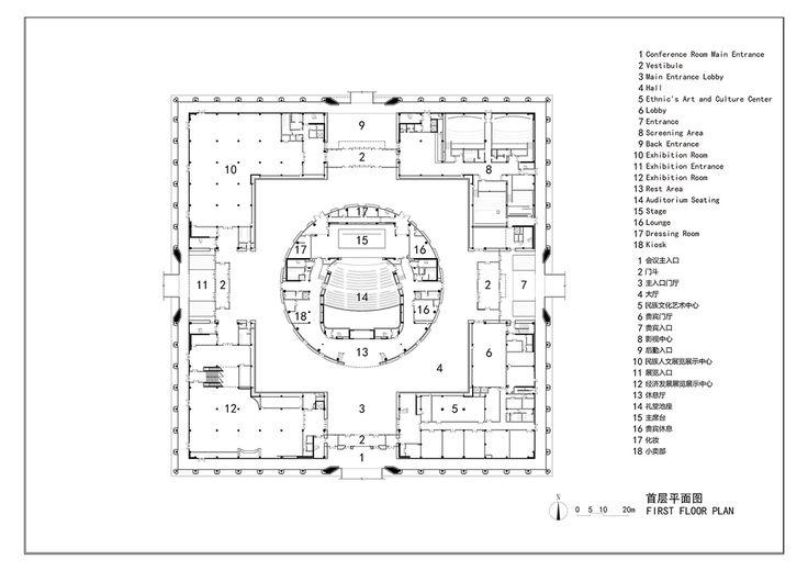 Мусульманский культурный центр. План 1 этажа. Изображение: archdaily.com