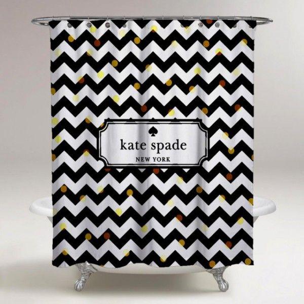 Black And White Custom Chevron Kate Spade Logo Shower Curtain