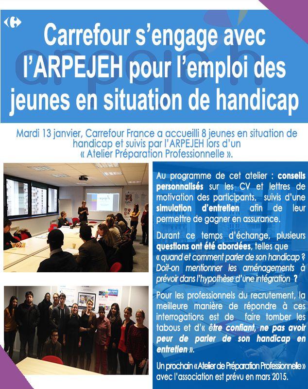"""""""Comment aborder son handicap lors d'un entretien d'embauche ?"""" Carrefour a proposé conseils personnalisés et simulation d'entretien à 8 jeunes en situation de handicap, en partenariat avec l'ARPEJEH. #Handicap #Emploi #Entretien"""