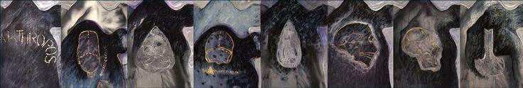 """""""Antropos"""" Tinta acrilica e esmalte sintético s/cartão postal"""