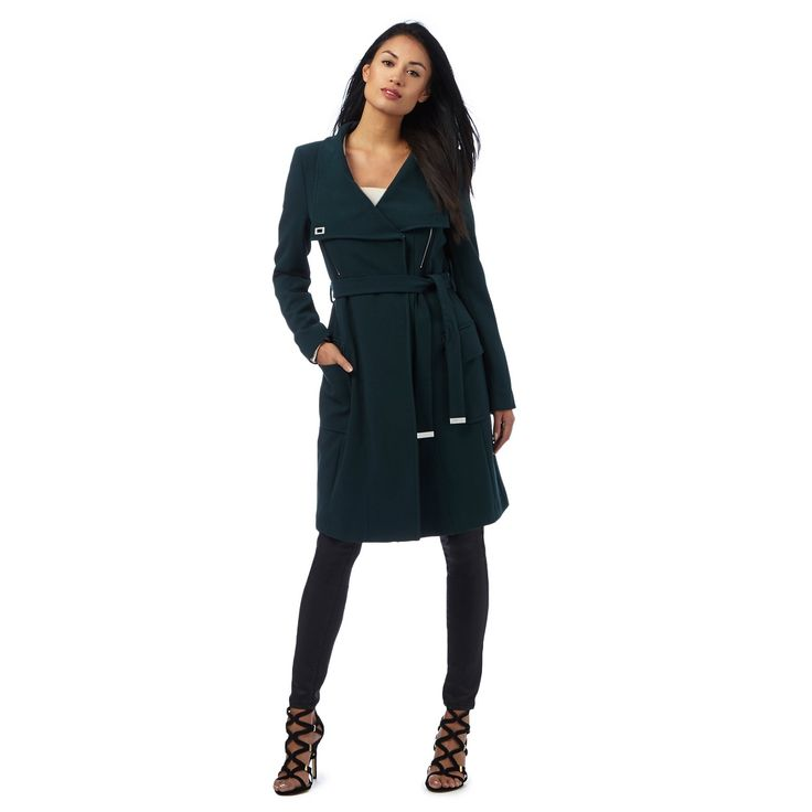 From our exclusive Star by Julien Macdonald collection, this coat is perfect for keeping stylish during those colder months. In a rich shade of dark green, this chic piece features a shawl collar that can be fastened up to become a cosy funnel neck and has been designed with a self-tie waist to both enhance and flatter a feminine silhouette.