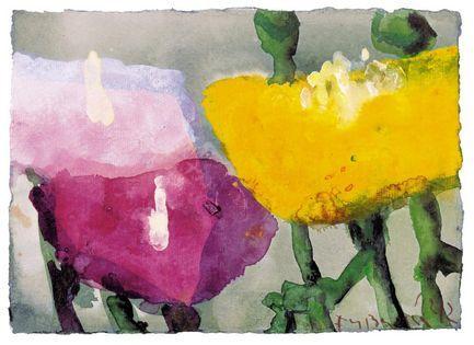 Klaus Fußmann, Gelber, roter und rosa Mohn, 2002