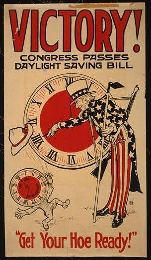 """World War I poster showing Uncle Sam turning a clock to Daylight Savings time as a clock-headed figure throws his hat in the air. The clock face of the figure reads """"One hour of extra daylight."""" The poster was sponsored by United Cigar Stores Company."""