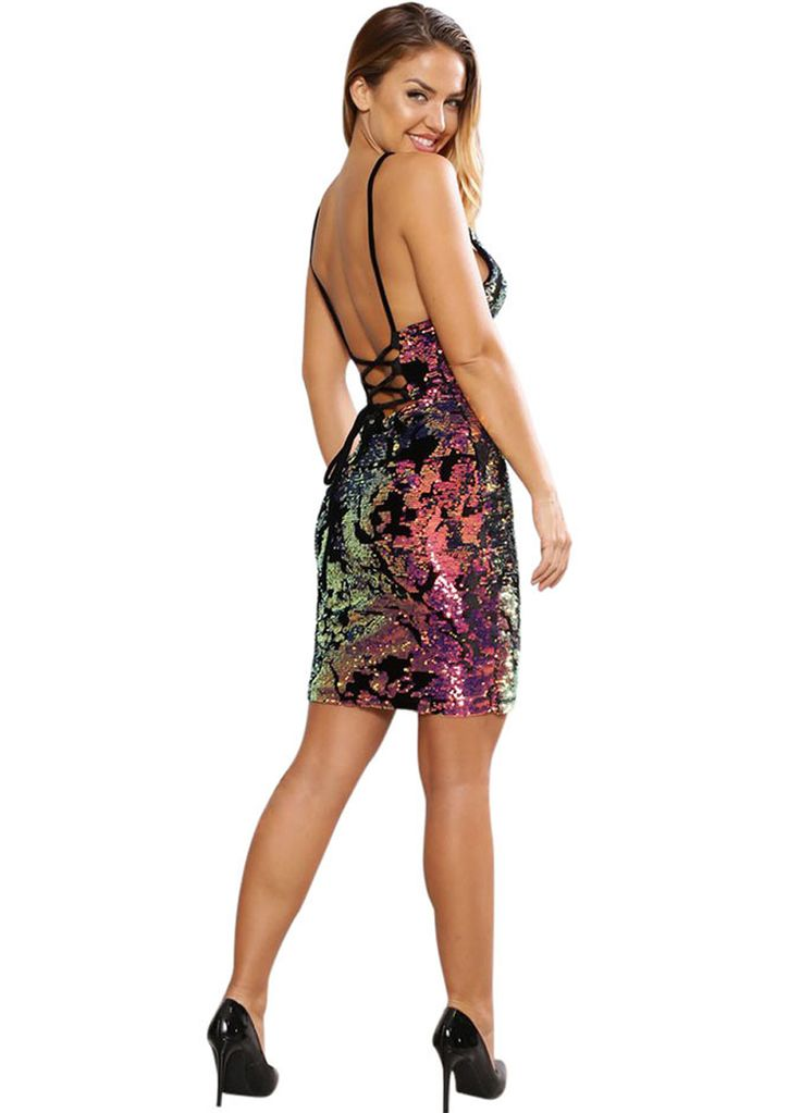 Multi-Color Sequin Strappy Dress_Club Dress_Clubwear Clothing_Sexy Lingeire | Cheap Plus Size Lingerie At Wholesale Price | Feelovely.com