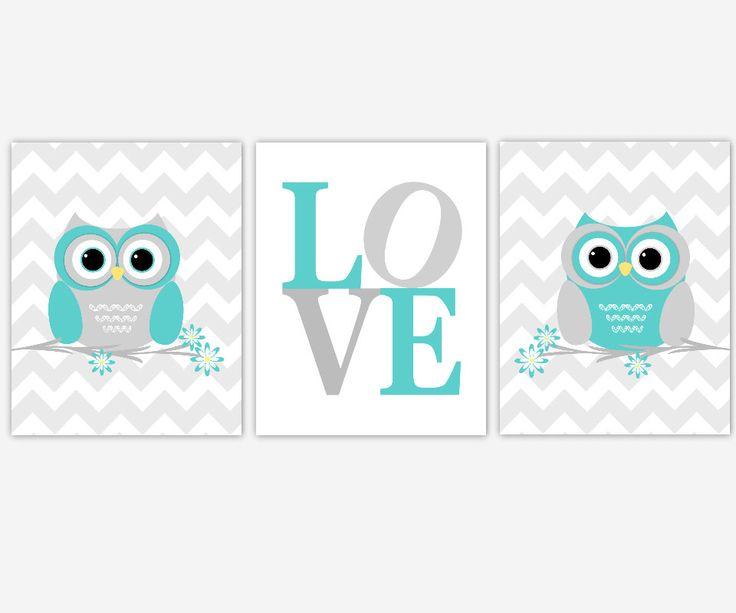 Baby Nursery Wall Art Owls Teal Grey Nursery Prints Chevron Love Print Baby Girl Baby Boy Decor Owl Nursery Decor Baby Nursery Decor Art by DezignerheartDesigns on Etsy https://www.etsy.com/listing/201422476/baby-nursery-wall-art-owls-teal-grey