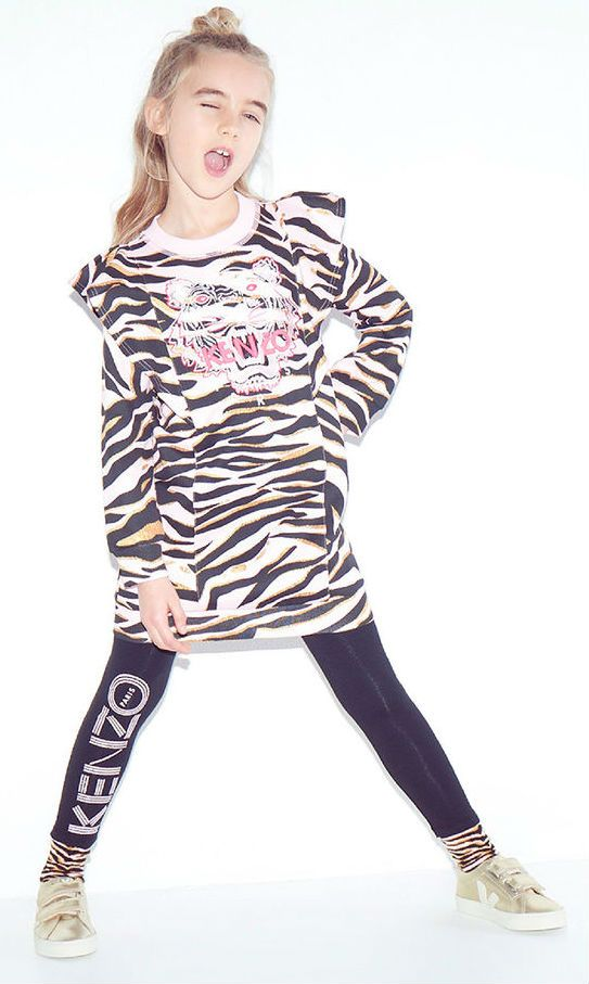 Love this KENZO KIDS Girls Tiger Sweatshirt Dress with a loose and relaxed fit that's perfect for layering. Kenzo Kids Fall 2017-18