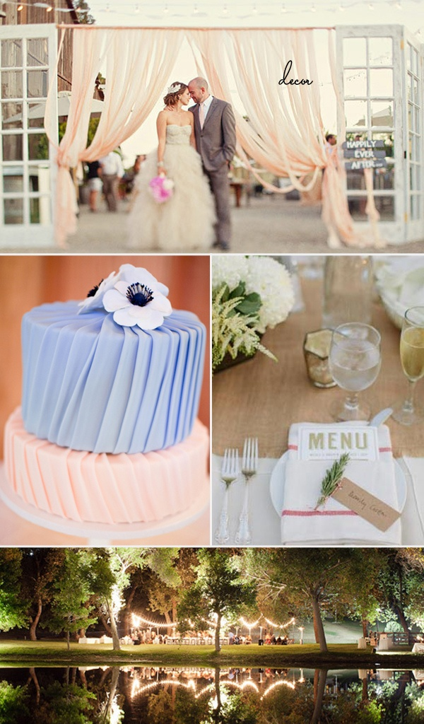 """Wedding Decor  Ceremony doorway: 100 Layer Cake    """"Wrapped"""" Cake: 100 Layer Cake    Simple table setting and twinkling outdoor reception: 100 Layer Cake"""
