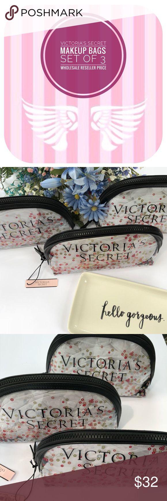 WHOLESALE! (3) Victoria's Secret ZIP Makeup Bag 3 Victoria