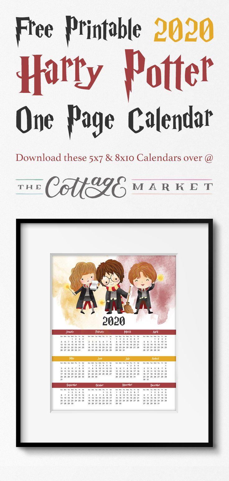 Kostenlos druckbare 2020 Harry Potter eine Seite Kalender, komm und verbringe den ganzen Jahr …   – Best of The Cottage Market