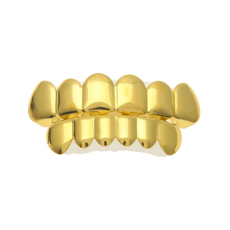 New Custom Fit Gold Plated Hip Hop Rock Teeth Grillz Caps Top & Bottom Grill Set For Halloween Christmas Party Vampire Teeth