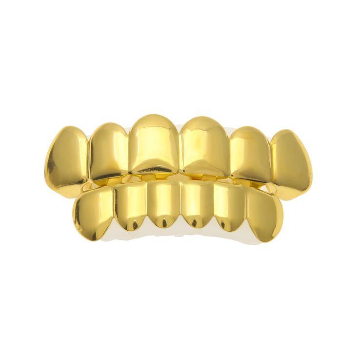 جديد مخصص صالح مطلية بالذهب الهيب هوب روك جريلز الأسنان قبعات أعلى وأسفل الشواية مجموعة ل حزب هالوين عيد الدماء الأسنان