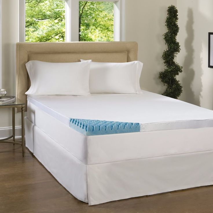 New Beautyrest 4 inch Sculpted Gel Memory Foam Mattress Topper Polysilk Cover #Beautyrest