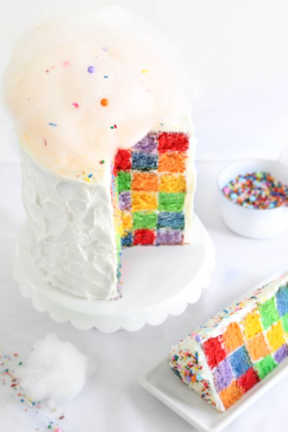Sprinkle Bakes: Lemony Rainbow Checkerboard Cake